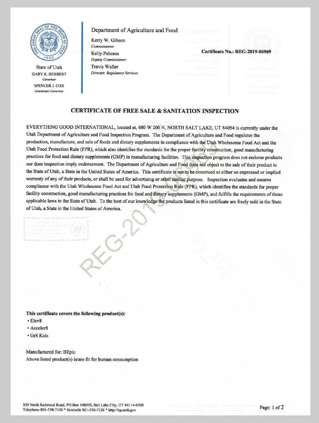 Сертификат Elev8, Acceler8, Gr8 Kids (США)